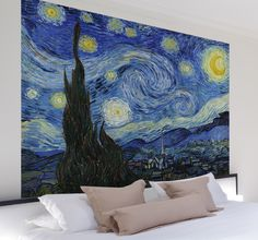 A brilliant wall sticker with a representation of Van Gogh's 'Starry Night' painting. One of this Dutch artist's most famous works to decorate your home. #VanGogh #Art #Decoration
