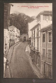 112 granada - cuesta de gomerez y puerta de las granadas - señán y gonzález, fot. (Postales - España - Andalucía Antigua (hasta 1939) - Granada)