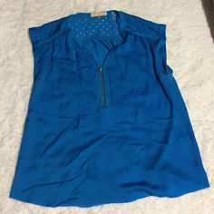 Rebecca Taylor Azul Blue Lasercut Top Blue Rebecca Taylor top with front zipper and laser cut circles. Very cute just wrinkled from move. Worn three times. Like new. Rebecca Taylor Tops Blouses