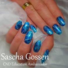 Blue Curacao....@CMDWorld #CND #CNDWorld #Shellac #CNDShellac #enhancements #nailart #naildesign #nails #CreamPuff #Paradise #foils #CeruleanSea #paradisecollection #cndparadise #glitter #additives #DeepBlue