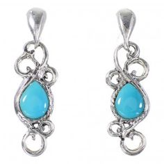 Southwestern Turquoise Genuine Sterling Silver Post Dangle Earrings http://www.silvertribe.com