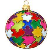 Multi-Colored Puzzle Glass Ornament