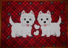 Westies - double-the-trouble applique wall hanging.  Dog quilt.