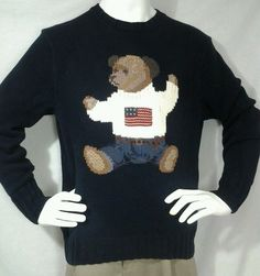 Mens Vintage RARE Polo Ralph Lauren Navy with Bear flag sweater Sz M Hand Knit #PoloRalphLauren #Crewneck