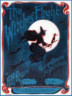 witch halloween vintage broomstick music sheet