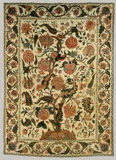 Bed Cover (Palampore), early 18th century, India  | Block printed cotton | 107 x 77 3/4in.