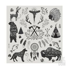 The First Nation - Set of Design Elements and Clip Art Themed around the Native Americans, their Sp Art Print by LanaN at Art.com