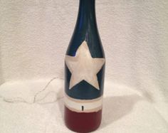 Americana hand painted, lighted wine bottle