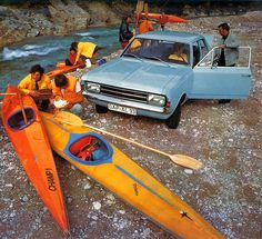 Opel Rekord white water kayaking 1972 calendar - Opel Rekord  This photo shows a nice composition and colours. I wonder of the opened trunk should indicate that a kayak needs to be transported in it?  White water kayaking on the Isar river at Scharnitz, Austria.