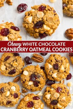 Thick chewy oatmeal cookies packed with white chocolate chips dried cranberries cinnamon and pecans. This healthy recipe uses honey but you can't tell! They are perfect for Christmas or New Years baking. Desserts With Chocolate Chips, Oatmeal Chocolate Chip Cookies, White Chocolate Chips, Easy To Make Desserts, Food To Make, Easy Delicious Recipes, Delicious Desserts, Cheesecake Recipes, Dessert Recipes