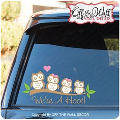 Owl Family Stick Figure Vinyl Car Decal Sticker
