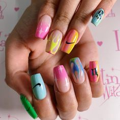 Image may contain: one or more people and closeup Gem Nails, Aycrlic Nails, Nail Manicure, Swag Nails, Perfect Nails, Gorgeous Nails, Pretty Nails, Nike Nails, Grunge Nails
