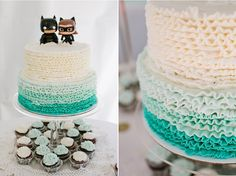 Lakeport Wedding Photography: Private Estate – Kimberly + Erik BATMAN catwoman funko figurine bobble head ombre wedding cake off beat cake toppers cupcakes blue and white vintage wedding Jasmine Lee photography