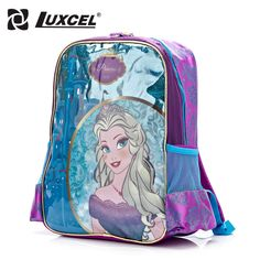 57197a1af828 Luxcel waterproof Elsa princess backpack for girls school bags cute cartoon  children shoulder backpack back to