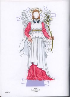 """ANGEL PAPER DOLLS WITH GLITTER   Artist Tom Tierney   Large book, front and back covers and 16 pages, plus comments on the inside of both covers. Costumes are all labeled """"A"""" for Angelica, and """"B"""" for Beatrice. PLATE 12"""
