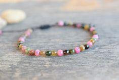 Dainty Bracelets, Cord Bracelets, Tourmaline Jewelry, Jewelry Gifts, Unique Jewelry, Amethyst Bracelet, Anklets, Gifts For Women, Crystals