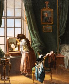 Woman combing her hair in front of the mirror.  Pehr Hilleström (1732 - 1816).  Histor7