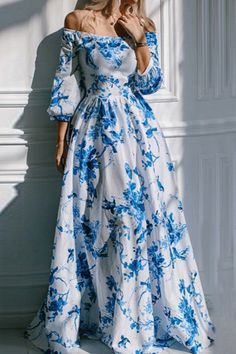Floral Off The Shoulder Ball Gown Dress#Floral Dress#floral dresses#Maxi…