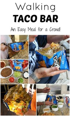 Walking Taco Bar - An easy meal for a crowd and party Frozen Birthday Party Ideas . 7 Easy Appetizer and Party Snack Ideas . Cooking For A Crowd, Food For A Crowd, Meals For A Crowd, Meals For Large Groups, Group Meals, Party Drinks, Ideas Party, Bunco Ideas, Tips