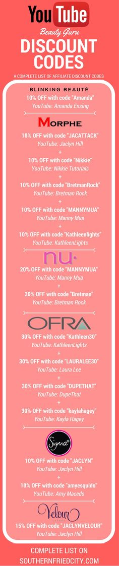 COMPLETE LIST of YouTube and Instagram Beauty Guru Discount / Affiliate codes to save you money on your favorite brands!