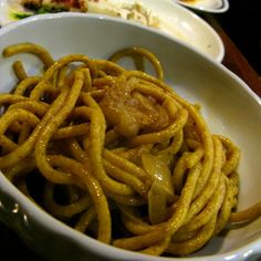 """Osteria Al Diavolo e L'Aquasanta - """"Bigoli in Salsa"""" (thick noodle pasta with anchovies and onion sauce). The traditional dish of Venice region. However, I think the Bigoli of this restaurant is the best!!!"""