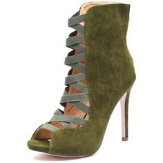 Olive Green Faux Suede Peep-Toe Bootie With Crisscross Elastic Strap Cutout Front - Citi Trends Shoes - Front