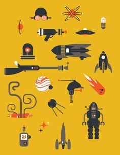 Retro sci-fi icons - Dan Schlitzkus