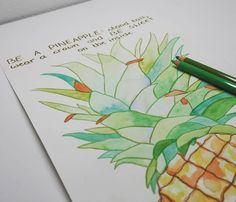 Ananas aus Wasserfarben und Bunstiften #ananas #pineapple #art #kunst #paint #painting #watercolor #colourpencils #colourpencil…