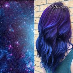 Galaxy hair color ❤ liked on Polyvore featuring beauty products, haircare, hair color and hair