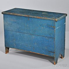 Tall Blue-painted Pine Blanket Chest, New England, early 19th century