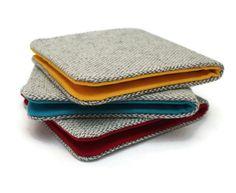 Mens Minimalist Slimline Wallet Light Grey Herringbone Wool 5 Pocket Billfold