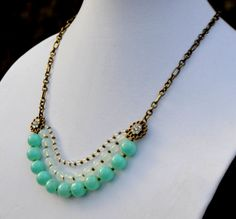 Triple Strand Chunky Turquoise Aqua Necklace   by SeaSaltShop, $24.00