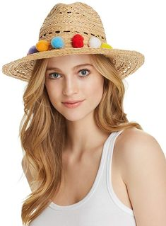 a0977337300045 AQUA Pom-Pom Trim Raffia Hat - 100% Exclusive. (Shopstyle Affiliate)