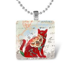Glass Tile Pendant Cat Pendant Cat Necklace With by IncrediblyHip, $7.50