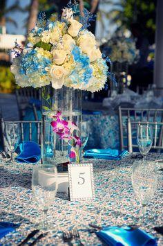 blue #wedding setup at Lauderdale Yacht Club