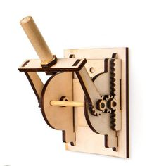 Ahoy Sea Captains! This Rube Goldberg style switch uses gears to make an unnecessarily complicated chain reaction, to turn your lights on or off more fun. Created with brass hardware and laser engrave