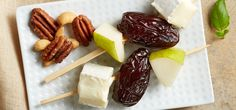 Medjool Date, Pear & Brie Skewers -- drizzle with balsamic vinegar and sprinkle with snipped basil