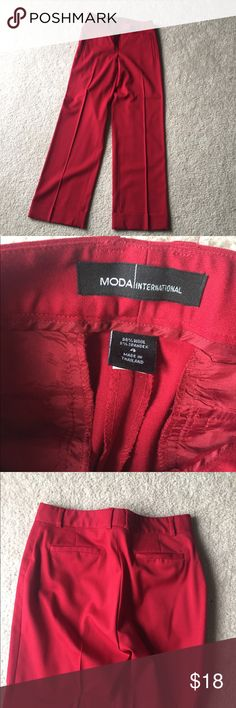 Victoria's Secret cuffed wool trouser pant red 4 Excellent used condition. Freshly dry cleaned but need to be steamed due to creases from hanging up. Victoria's Secret Moda International sized 4. Victoria's Secret Pants Trousers
