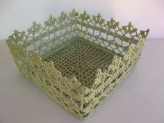 Crochet Basket Light Green by SuayaArt on Etsy