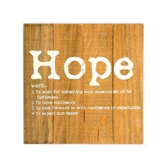 Bild Hope Kiefer natur ca. 30 x 30 cm  Material: Kiefernholz Farbe: natur Maße: ca. L:30 x B:30 cm  Der letzte Schrei in Sachen Wanddekoration: Dieses originelle Bild mit seinem auf Holz gedruckten Wörterbucheintrag verschönert die Wände in Ihren Räumen auf ausgefallene Weise und erinnert den Betrachter an die wichtigen Dinge im Leben. Das rustikale, naturbelassene Kiefernholz und die Vintage-Typografie machen es zum Blickfang mit erm...  7,99€