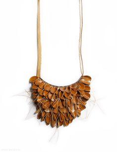 Hyorim Lee - necklace, 2012, leather, beads, string - pendant: 110 x 140 x 35 mm