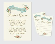 Bride & Groom Advice Cards and Sign // by RememberNovemberInc
