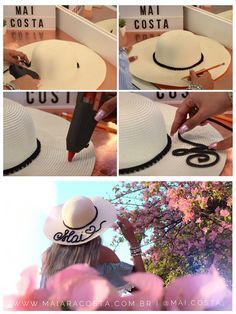 Como fazer chapéu de praia personalizado. Chapéu de praia falante, chapéu sombreiro com frases. DIY CHAPÉU. Hat Crafts, Diy And Crafts, Hat Embroidery, Fancy Hats, Dress Hats, Summer Accessories, Vacation Outfits, Summer Hats, Diy Clothes
