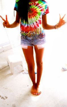 this tie-dye shirt with the fringes & beads is such a cute idea! ~ did this with Halie for girls in her cabin at camp last year.  Unfortunately, the dye washed out. :(