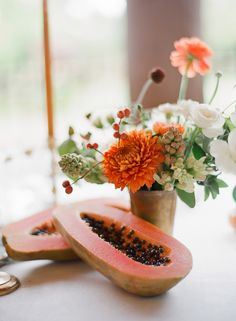 Papaya fruit tablescape: http://www.stylemepretty.com/collection/2871/
