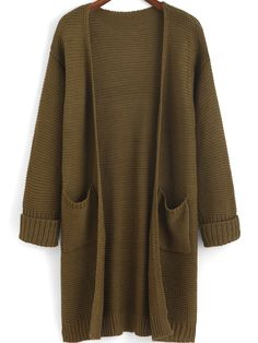 Shop Flange Pockets Knit Army Green Cardigan online. SheIn offers Flange Pockets Knit Army Green Cardigan & more to fit your fashionable needs.