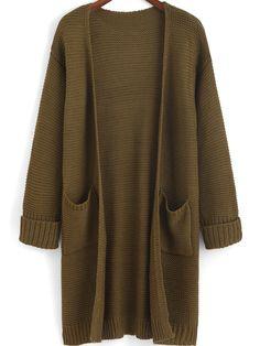 Flange Pockets Knit Army Green Cardigan 26.09