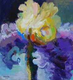 """Yellow and Purple Iris,"" Acrylic on Canvas, 65 x 59 in."