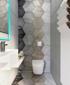 A small restroom with terrific color and design. The restroom is concealed off t. A small restroom Bathroom Layout, Bathroom Interior Design, Bathroom Ideas, Bathroom Organization, Bathroom Mirrors, Remodel Bathroom, Bathroom Storage, Marble Bathrooms, Bathroom Small