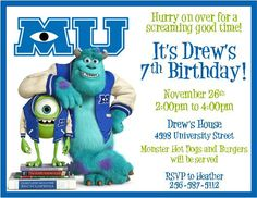 Monsters University Party Invitations